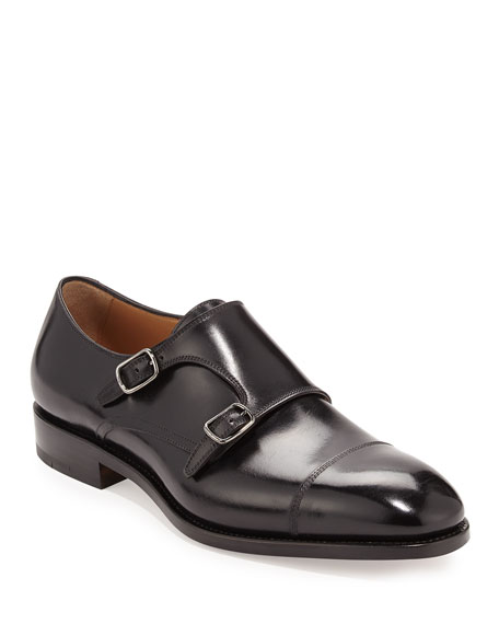 Men's Tramezza Calfskin Double-Monk Shoe, Black