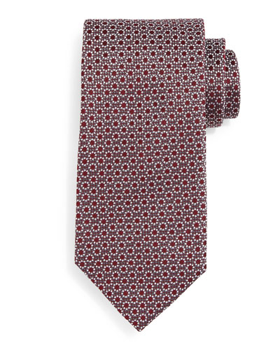 Floral-Print Neat Silk Tie, Burgundy