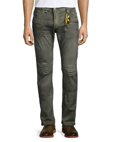 Dusty Slim-Fit Moto Jeans, Beige