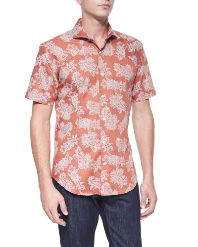 Floral Paisley-Print Short-Sleeve Shirt, Orange/Black
