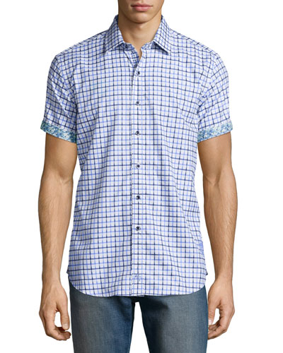 Mini-Check Short-Sleeve Woven Shirt, Light Blue
