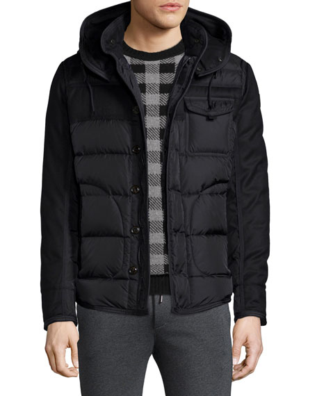 Moncler Ryan Nylon & Wool Hooded Puffer Jacket,