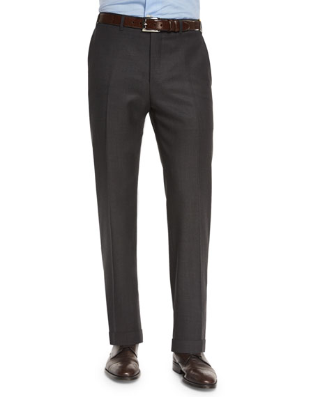 Canali Super 130s Solid Travel Trousers, Charcoal