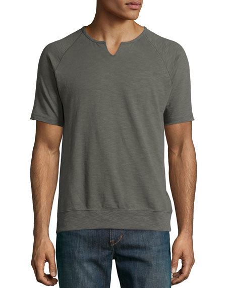 John Varvatos Star USA Raglan Short-Sleeve Sweatshirt, Sage
