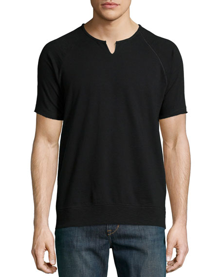 John Varvatos Star USA Raglan Short-Sleeve Sweatshirt, Black