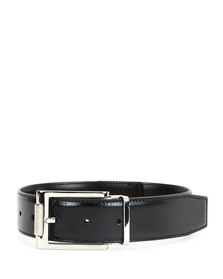 salvatore ferragamo reversible leather buckle dress belt