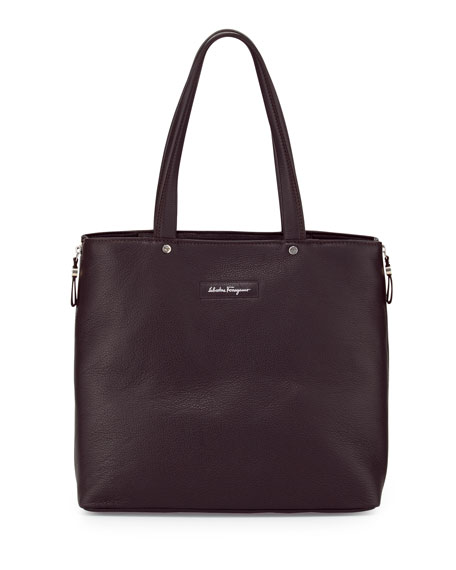 Salvatore Ferragamo Leather Open-Top Shopper Bag, Brown