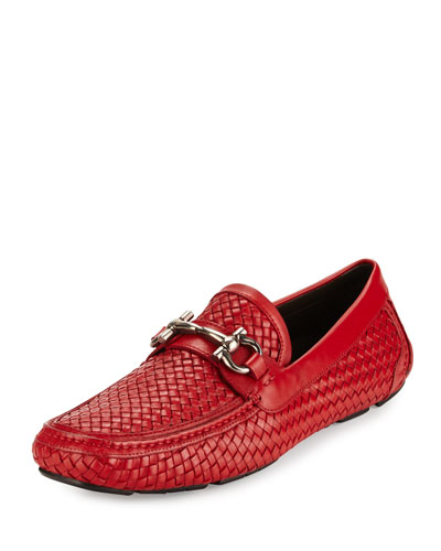 Parigi 6 Braided Calfskin Gancini Driver, Red