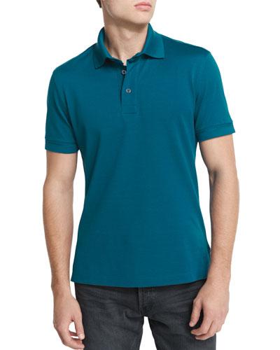 Short-Sleeve Pique Polo Shirt, Teal