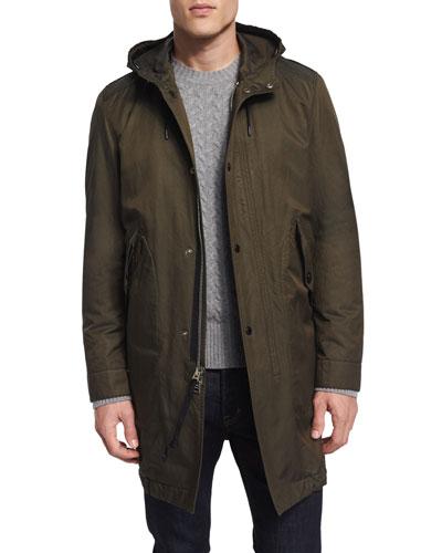 Lightweight Quarter-Length Hooded Jacket, Olive
