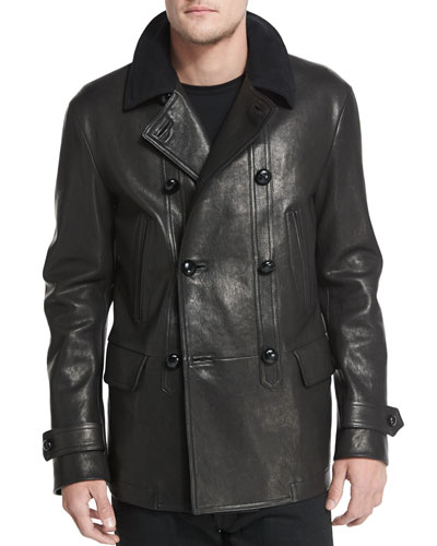 Vintage-Inspired Double-Breasted Leather Peacoat, Black