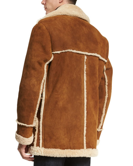 Sable Shearling Fur Jacket with Raw Edge, Ivory
