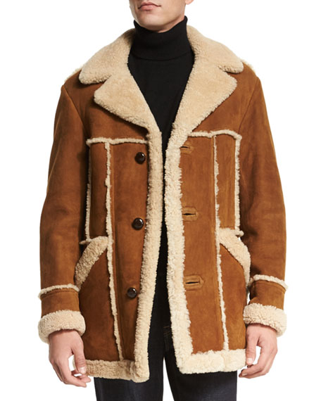 Tom Ford Sable Shearling Fur Jacket With Raw Edge Ivory