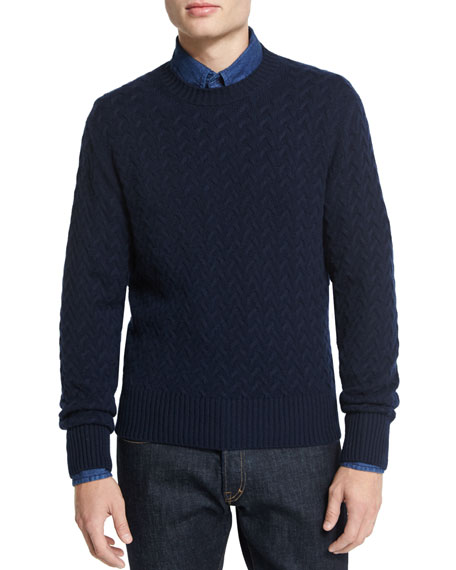 TOM FORD Melange Cable-Knit Crewneck Sweater, Navy