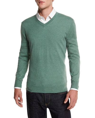 Cashmere-Silk V-Neck Sweater, Green