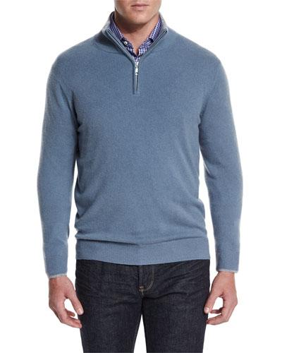 Cashmere Half-Zip Pullover Sweater, Blue