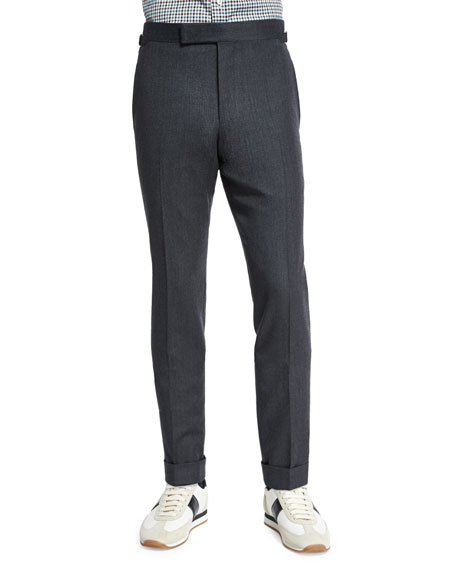 TOM FORD O'Connor Base Flannel Tailored Trousers, Charcoal
