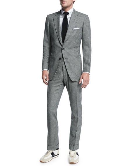 TOM FORD Buckley Base Flannel Houndstooth Two-Piece Suit,