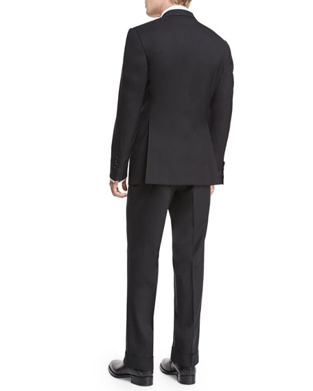 Image 4 of 4: TOM FORD Windsor Base Peak-Lapel Two-Piece Suit, Black