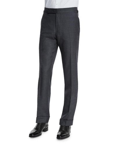 O'Connor Base Flat-Front Sharkskin Trousers, Light Gray