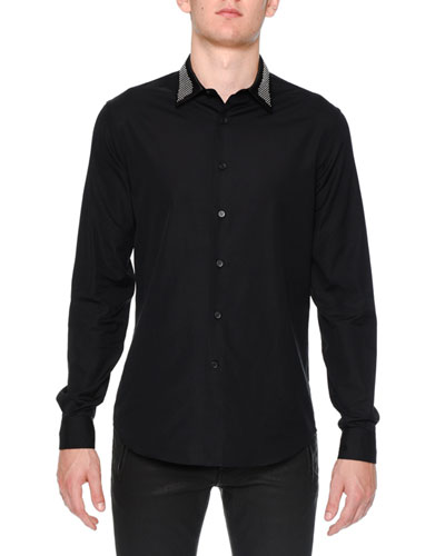 Studded-Collar Long-Sleeve Woven Shirt, Black