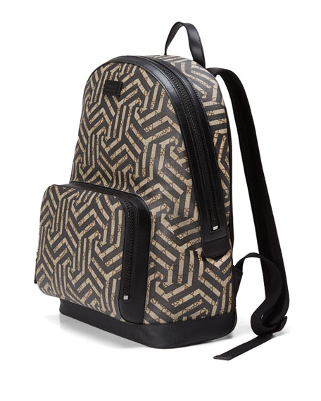 GG Caleido Canvas Backpack, Black/Brown