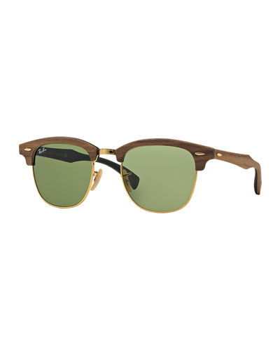 Clubmaster Wood Sunglasses, Green