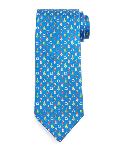Holiday-Printed Silk Tie, Blue