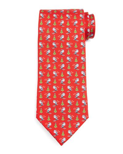 Skiing-Santa Silk Tie, Red