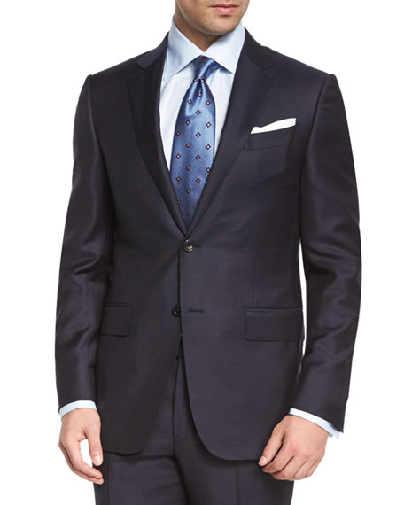 Ermenegildo ZegnaTrofeo Graph-Check Two-Piece Suit, Navy