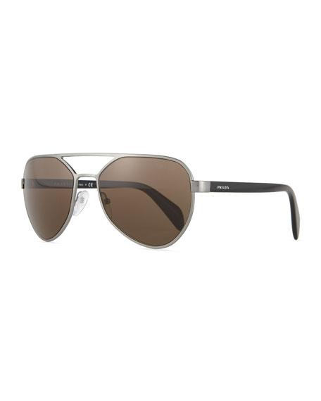 Prada Irregular-Frame Aviator Sunglasses, Gunmetal