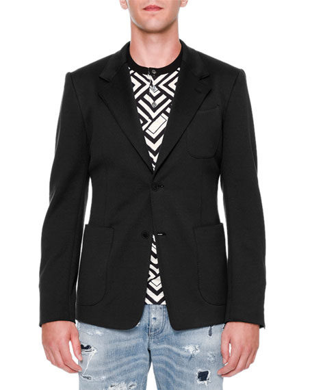 Dolce & Gabbana Two-Button Jersey Blazer, Black