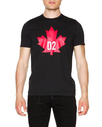 Maple Leaf Short-Sleeve Graphic Tee, Black