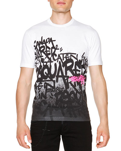 Graffiti-Print Short-Sleeve Tee, White
