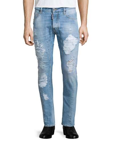 Super-Distressed Skinny-Leg Denim Jeans, Light Blue
