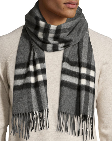 Men's Cashmere Giant Icon Scarf, Gray