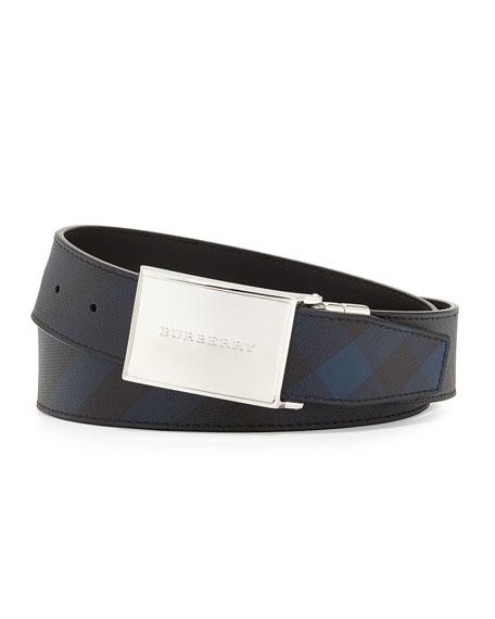 Burberry Reversible Plaque-Buckle Belt, Navy/Black