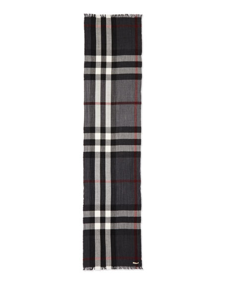 Burberry Men's Wool/Cashmere Tricolor Check Lightweight Scarf,