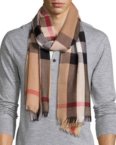 Men's Cashmere/Wool-Blend Lightweight Mega-Check Scarf, Camel