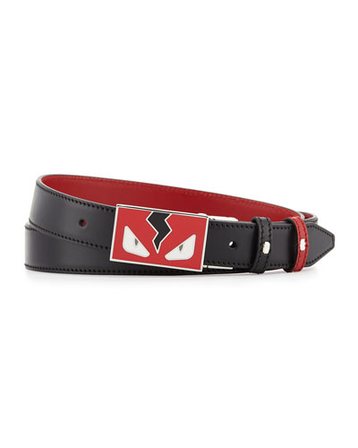 Monster Eyes Reversible Leather Belt, Red