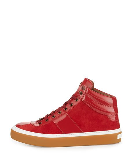 Belgravi Men's Leather High-Top Sneaker, Red