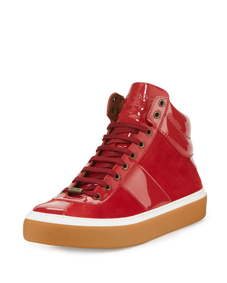 Jimmy Choo Belgravi Men's Leather High-Top Sneaker, Red