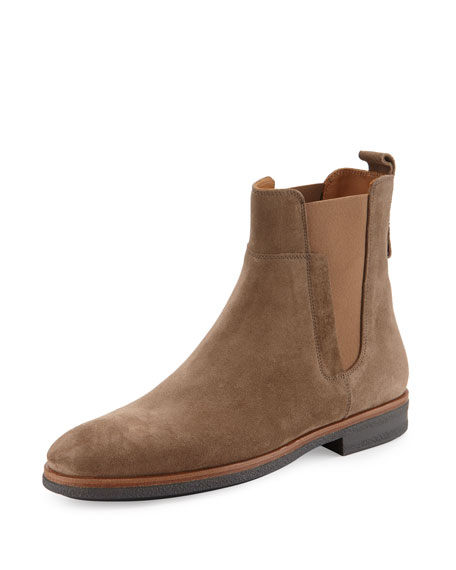 Vince Men's Suede Chelsea Boot, Light Brown