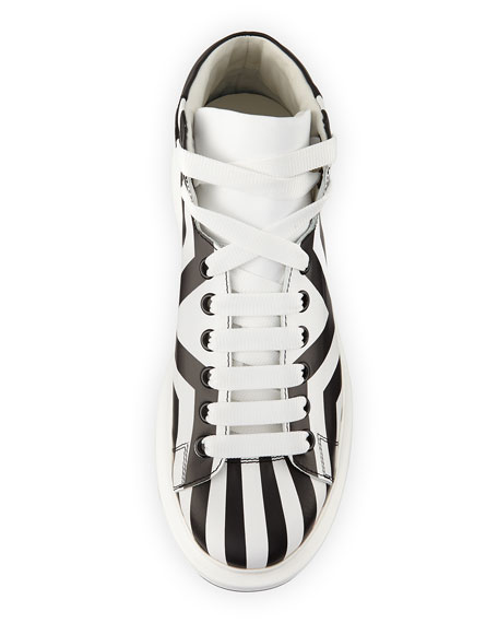 Stripe-Print Leather High-Top Sneaker, Black/White