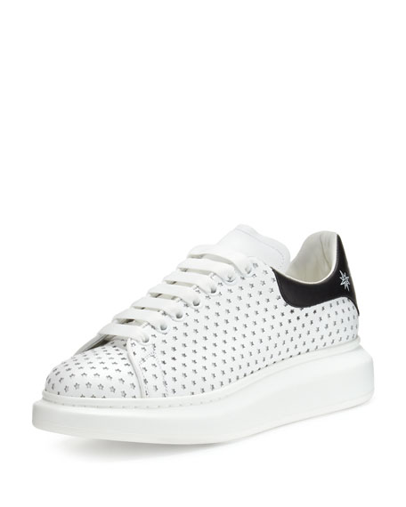 Alexander McQueen Perforated-Star Leather Low-Top Platform