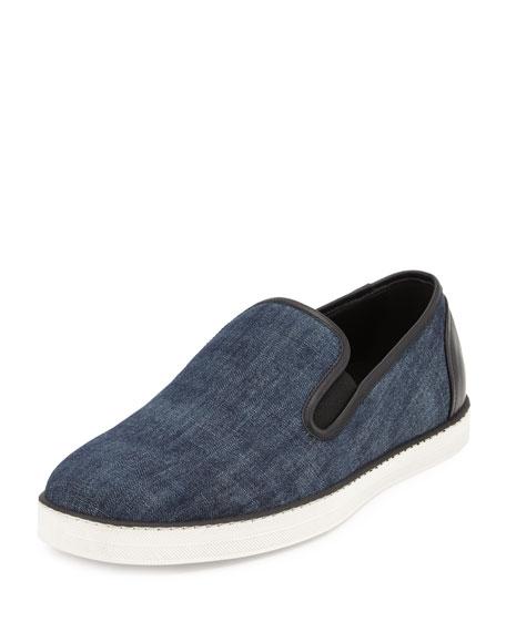 Bottega Veneta Denim Fabric Skater Shoe, Denim