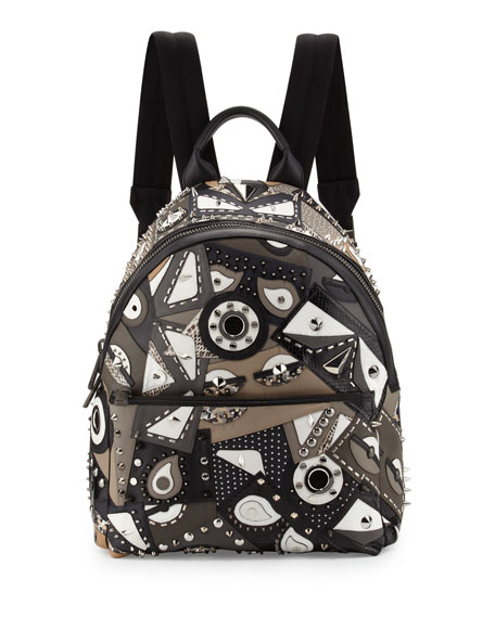 Fendi Runway Studded Monster Eye Printed Backpack, Gray/Black