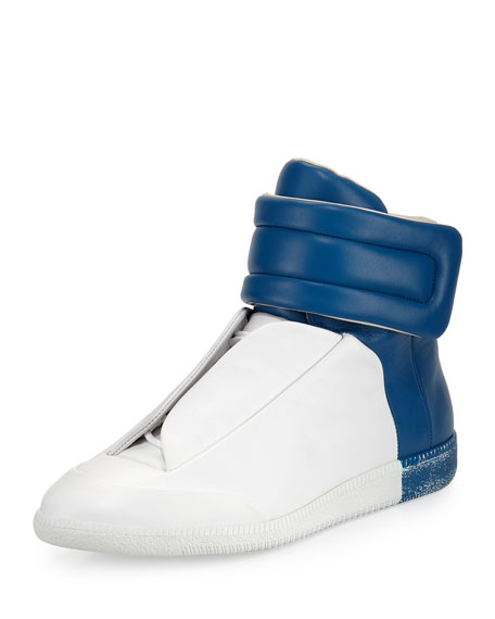 Maison Margiela Future Leather High-Top Sneaker, White/Blue