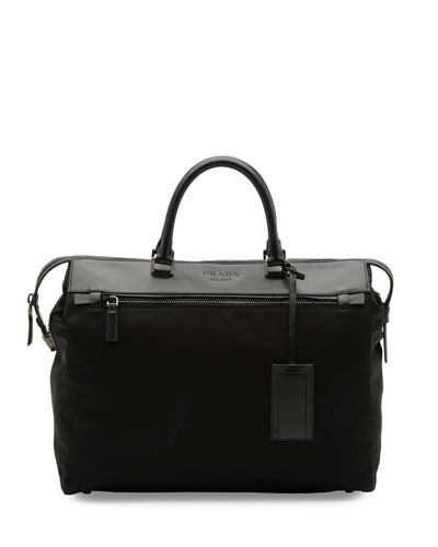 Leather & Nylon Horizontal Tote Bag, Black