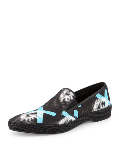 Runway Printed Slip-On Sneaker, Black/Blue